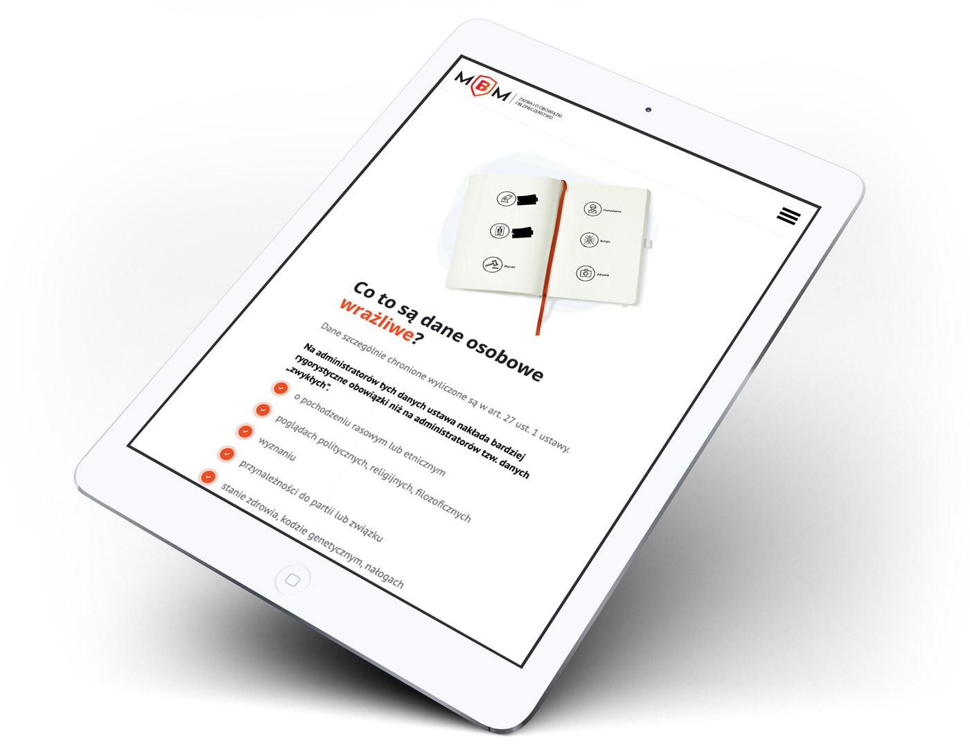 Anonimizacja - design strony longpage na tablecie