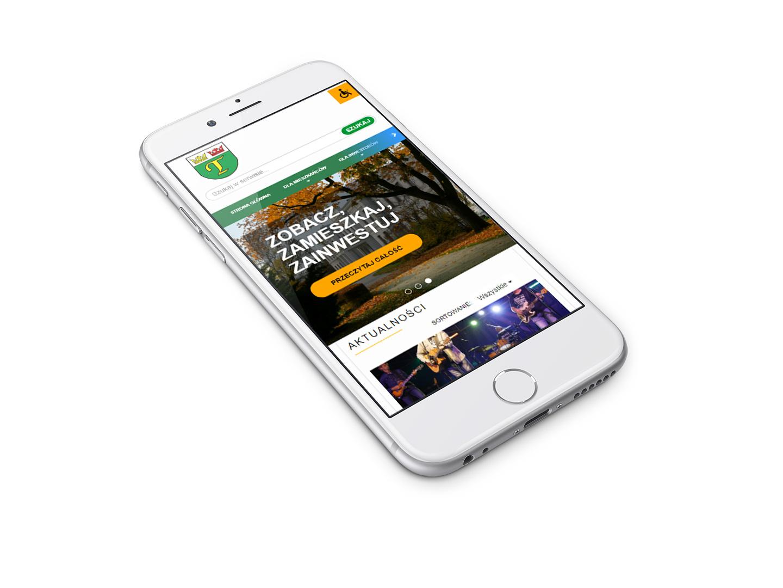 Projekt widoku mobilnego na stronie internetowej Gminy Teresin (RWD)