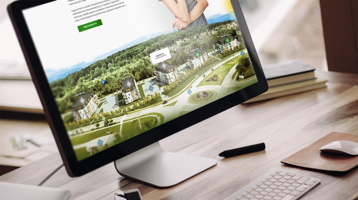 Pogoria Park Dąbrowa Górnicza - strona dewelopera nieruchomości Valvi - wizualizacja na komputerze