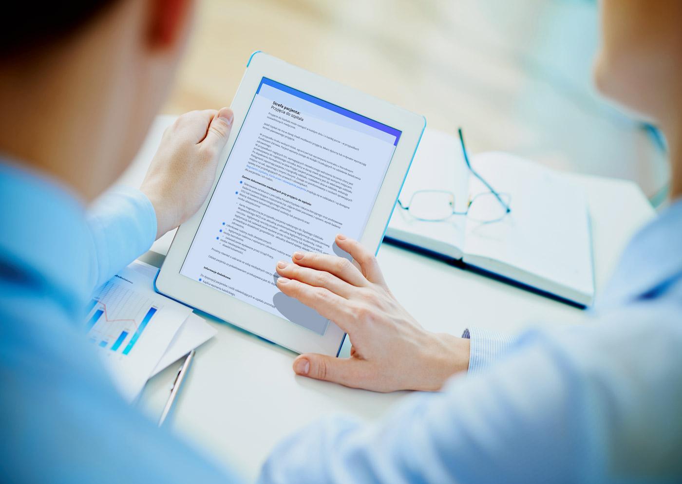 Tabletowy widok strony internetowej szpitala z Pilchowic