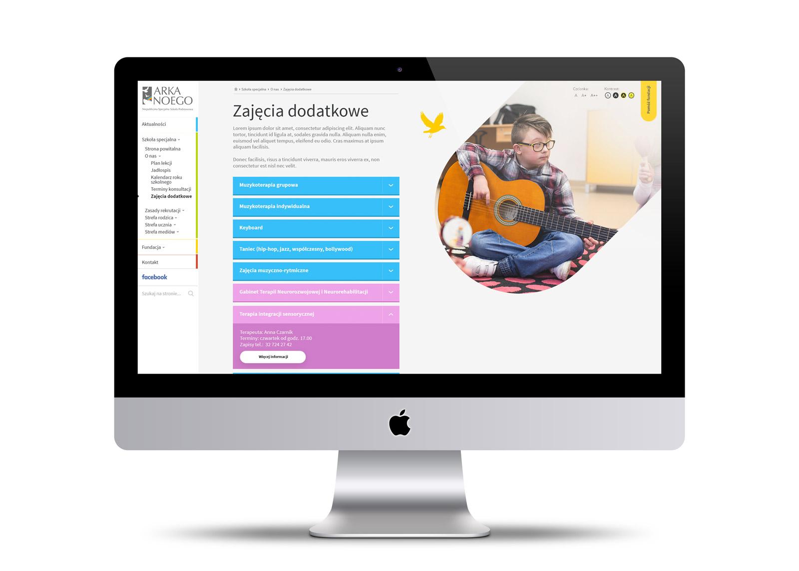 Nowoczesna, designerska strona internetowa dla szkoły Arka Noego, Katowice