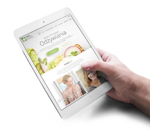 Klinika Zdrowego Odżywiania - strona internetowa wizualizacja na tablecie RWD