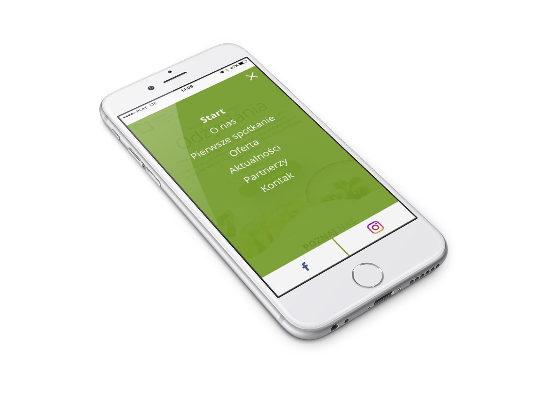 Menu w wersji mobilnej strony internetowej poświęconej zdrowemu odżywianiu,
