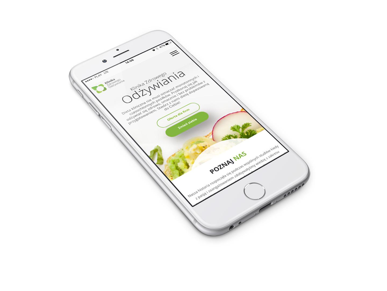 Strona internetowa w wersji mobilnej na komórce, rwd, Linika Zdrowego Odzywiania