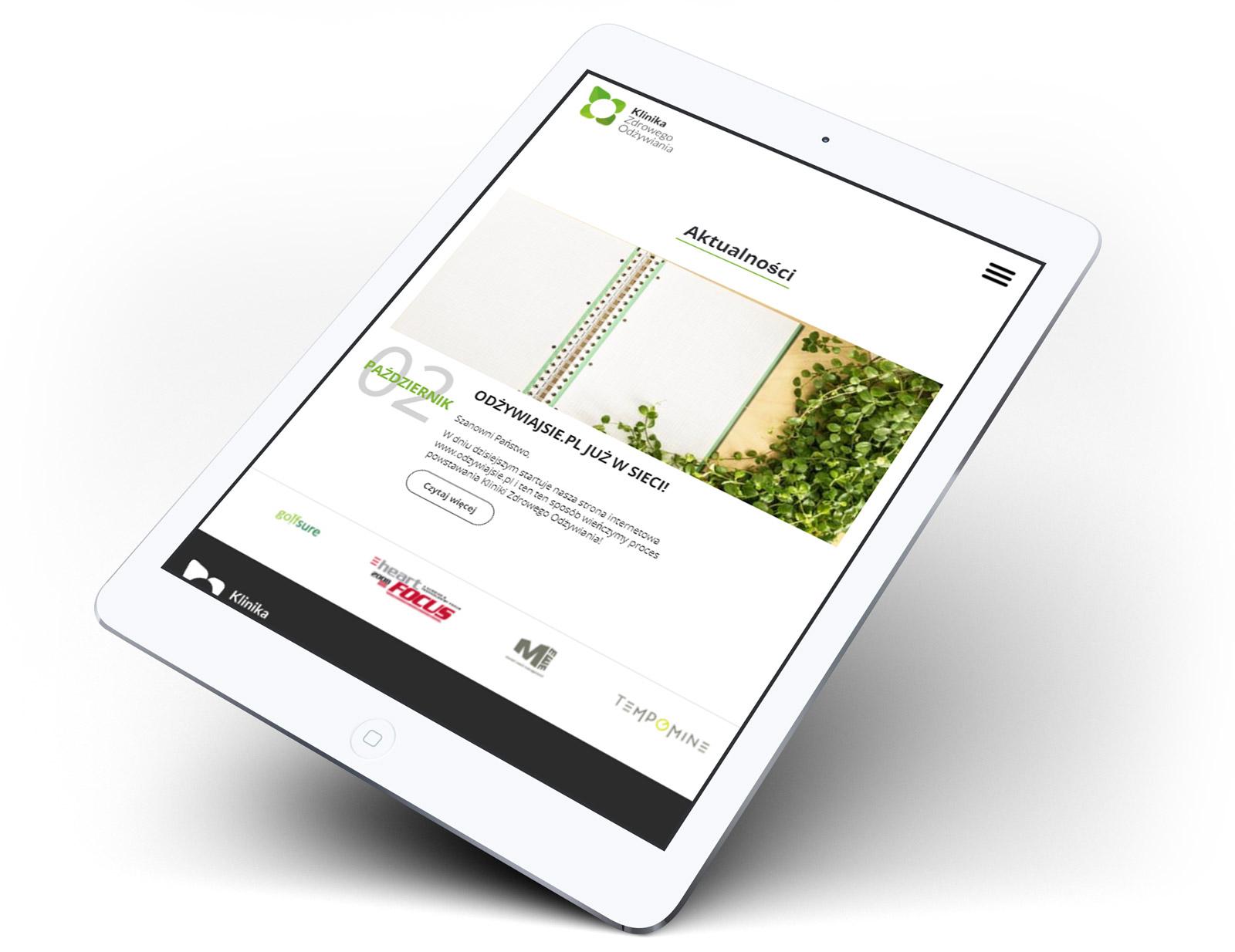 Klinika Zdrowego Odżywiania - strona www na tablecie