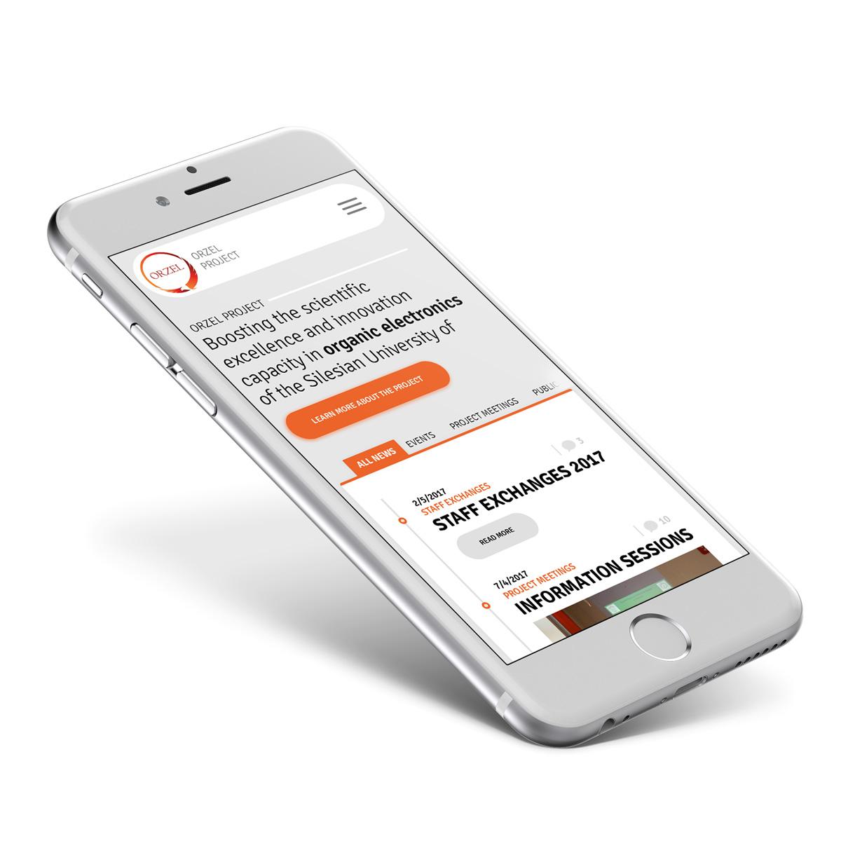 Mobilna wersja storny internetowej dla ORZEL Project