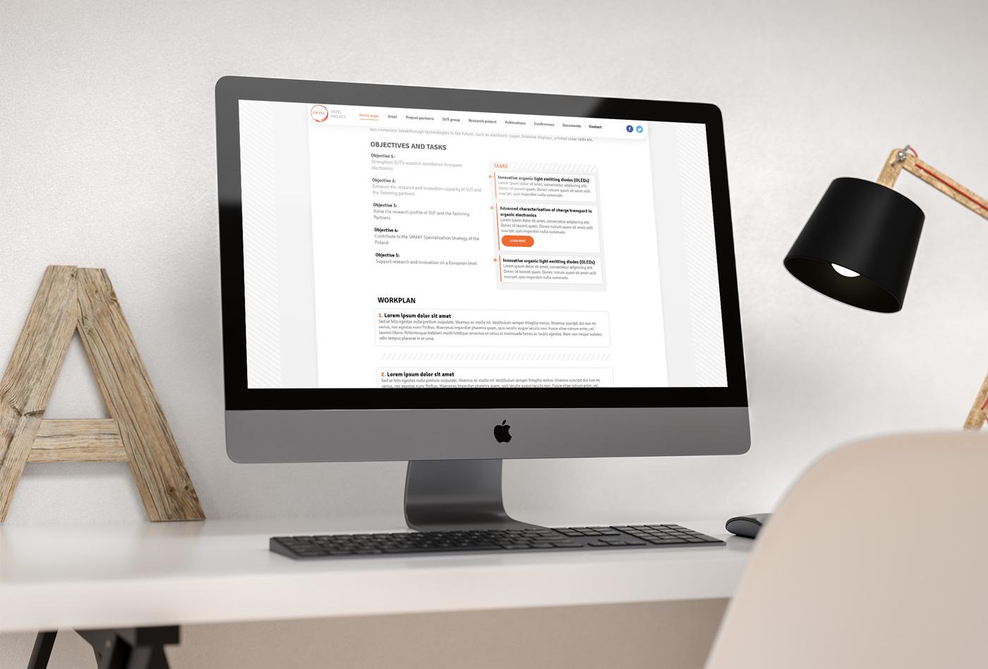 Wizualizacja strony internetowej dla ORZEL Project - naukowej strony informacyjnej