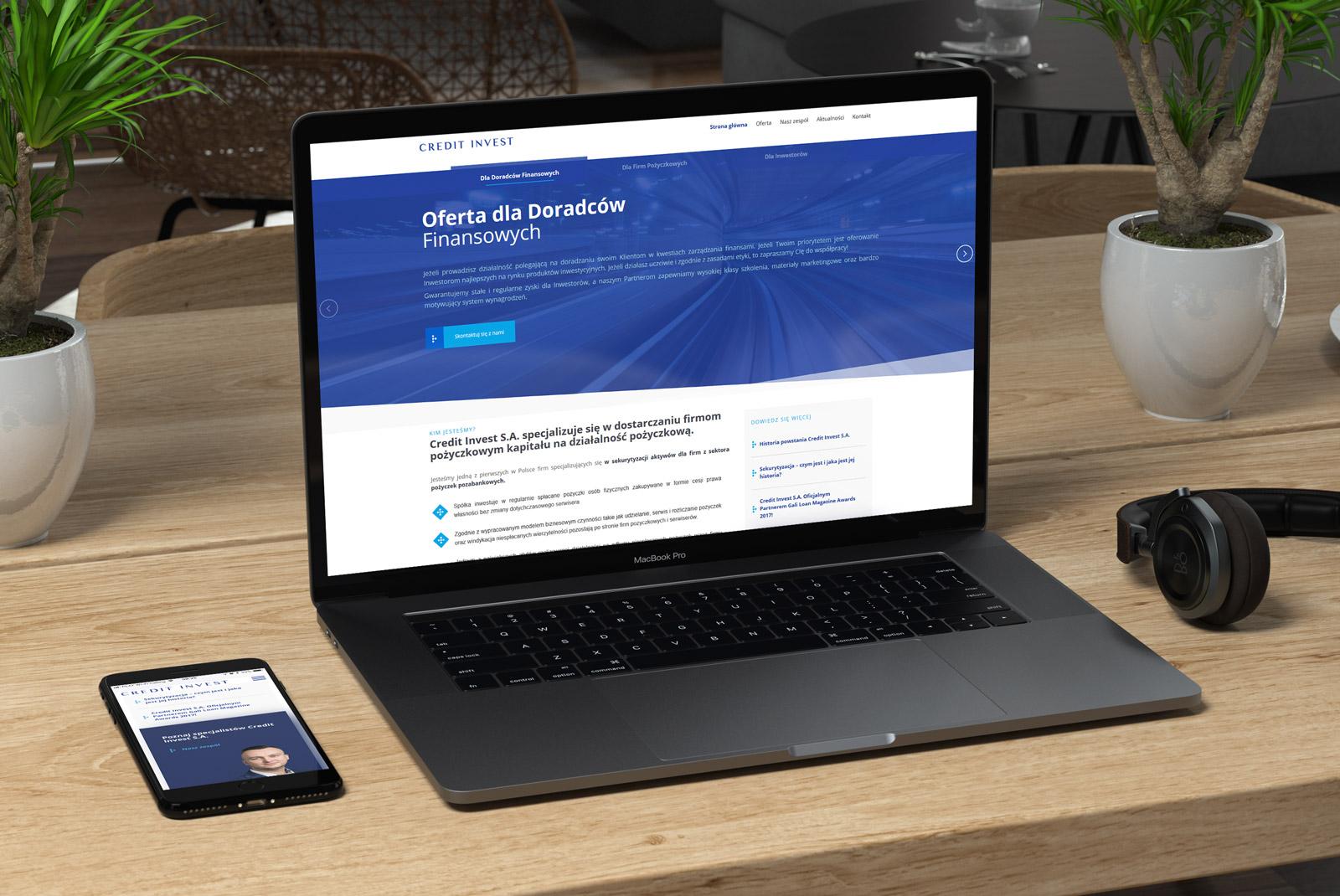 Credit Invest - wizualizacja nowej strony internetowej