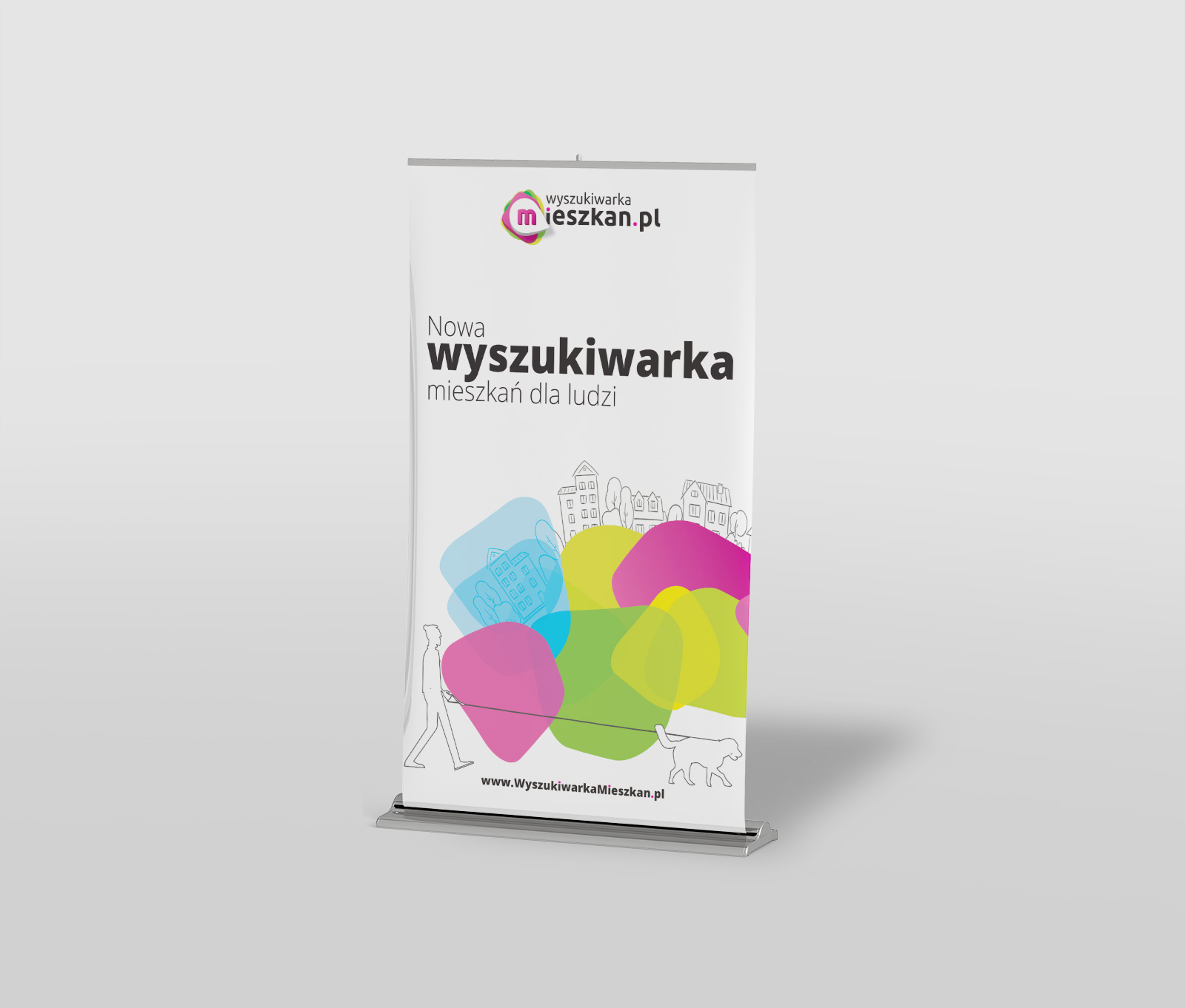 Wyszukiwarka Mieszkan - rollup reklamowy - projekt