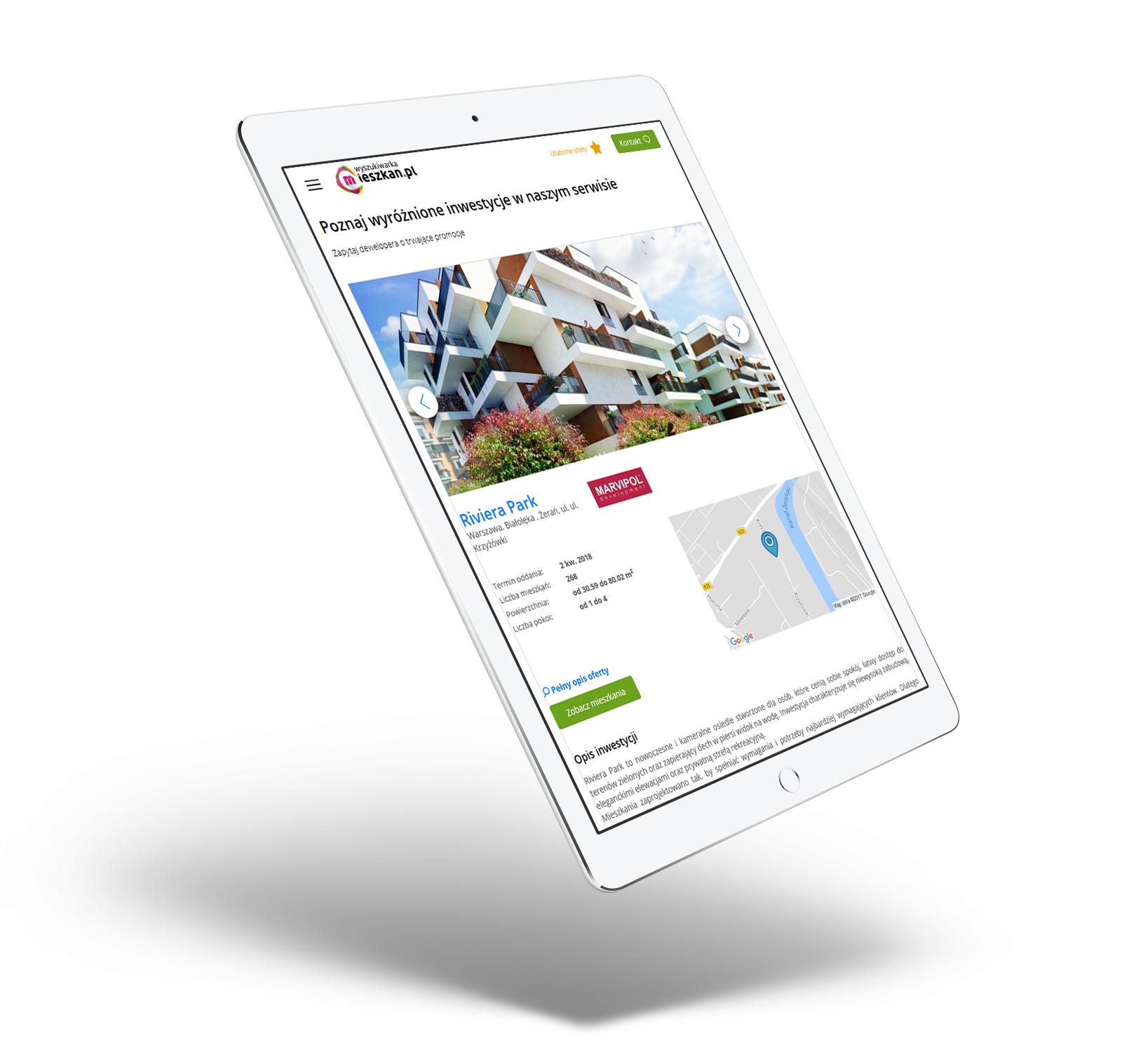 Wyszukiwarka Mieszkan - wizualizacja nowego serwisu internetowego na tablecie