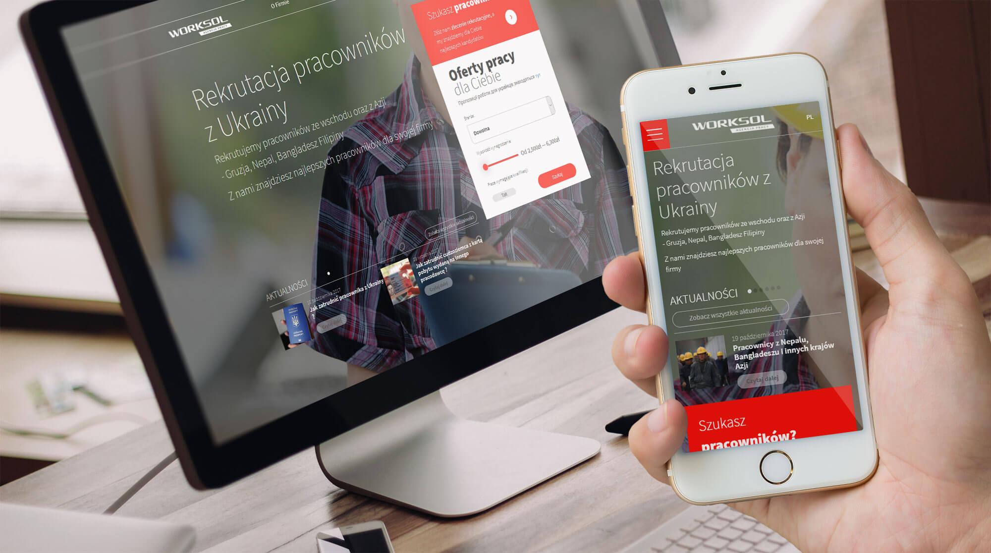 Wizualizacja projektu responsywnej strony internetowej z ofertami pracy i informacjami dla obcokrajowców - Worksol
