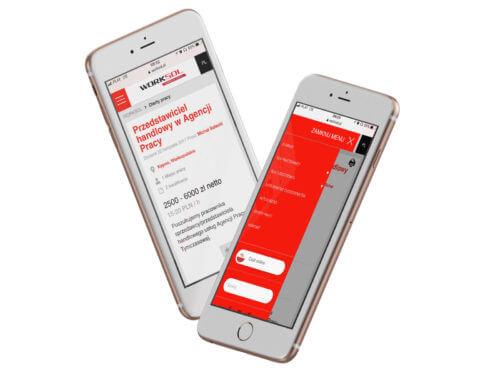 Worksol - serwis internetowy informacyjny z ofertami pracy - projekt na smartphonach