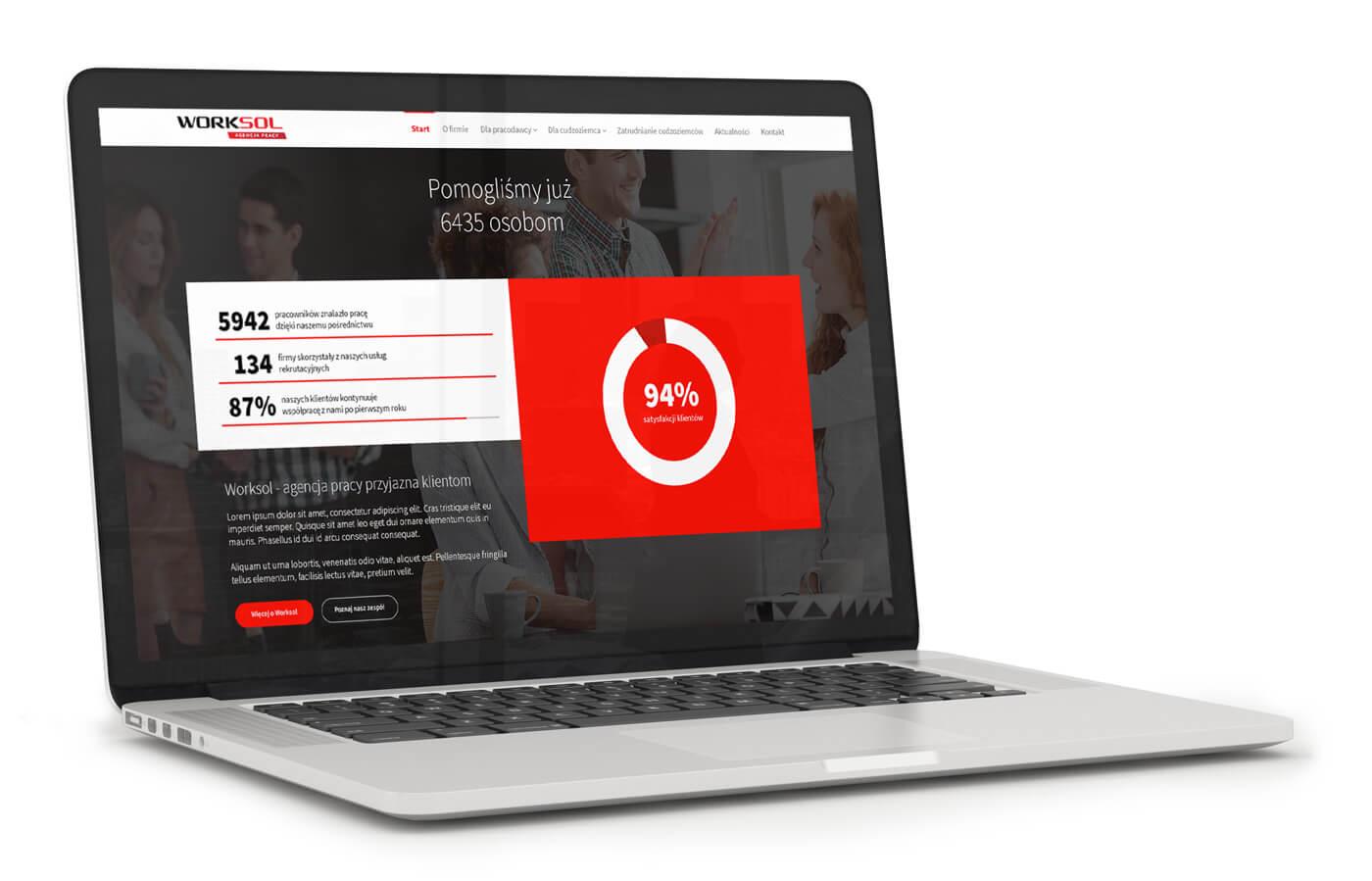 Worksol - strona agencji pracy tymczasowej, serwis z ofertami pracy