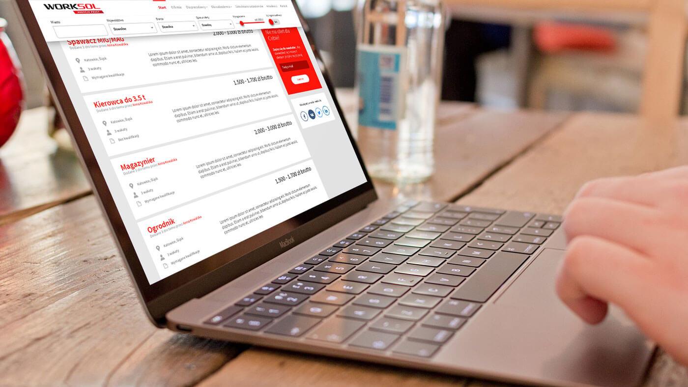 Projekt serwisu z ofertami pracy - Worksol