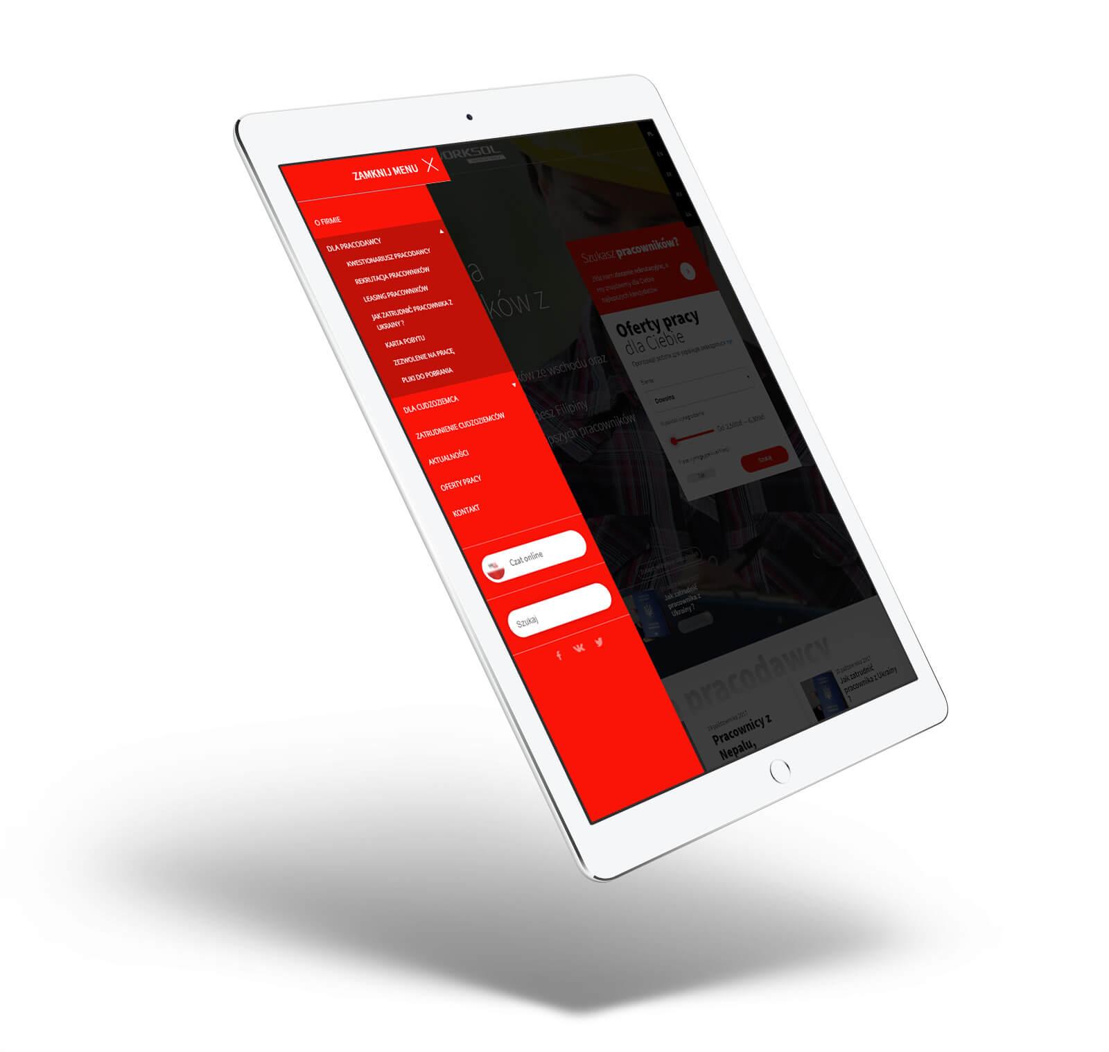 Worksol - projekt nowej strony internetowej - wizualizacja na iPadzie