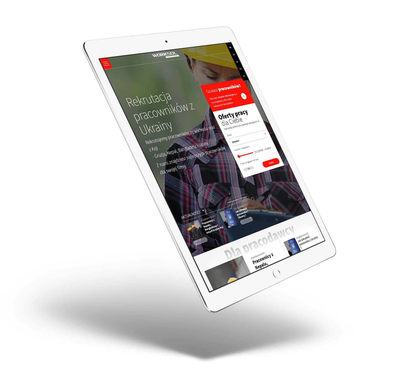 Worksol - projekt nowej strony z ofertami pracy