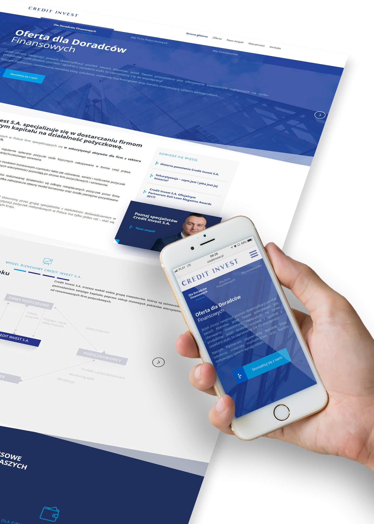 Credit Invest - projekt strony internetowej - wizualizacja strony głównej
