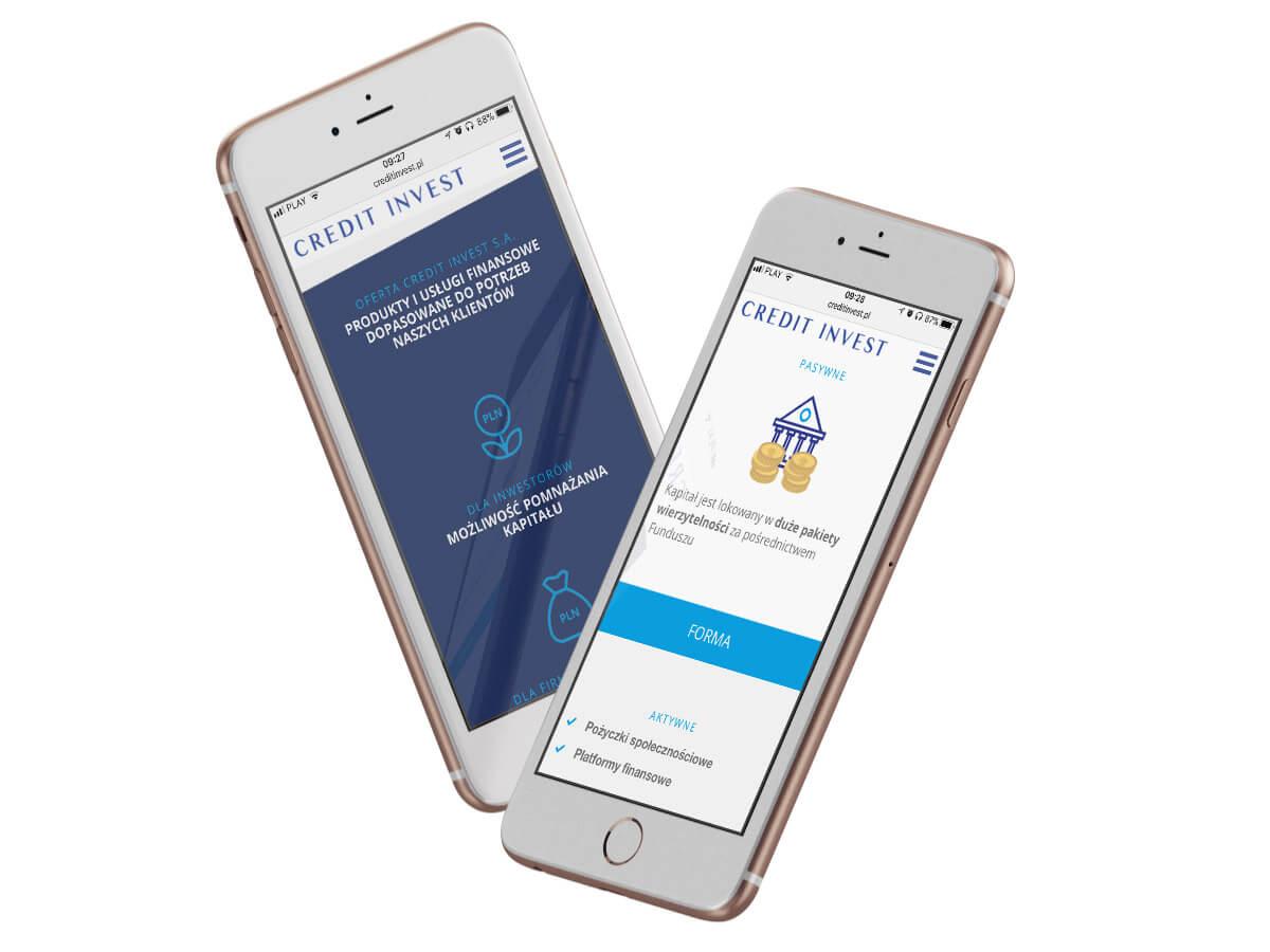 Credit Invest - projekt strony internetowej na telefonie wersja responsywna