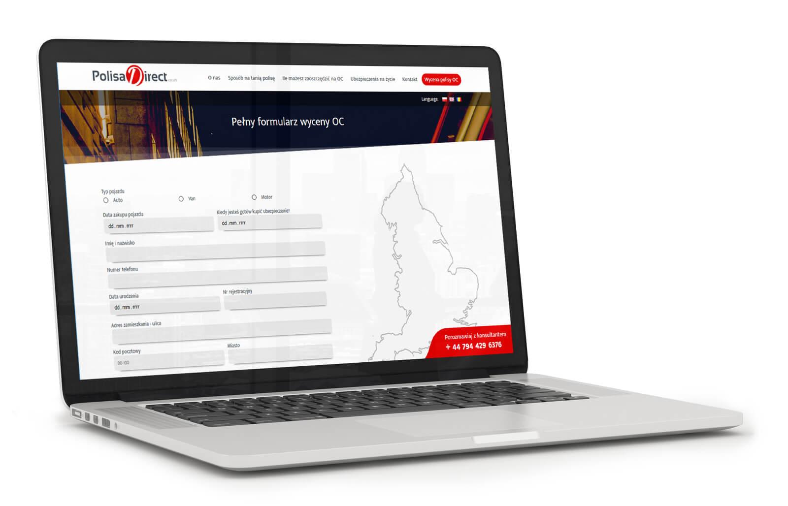 Polisa Direct - strona internetowa z ubezpieczeniami w Anglii