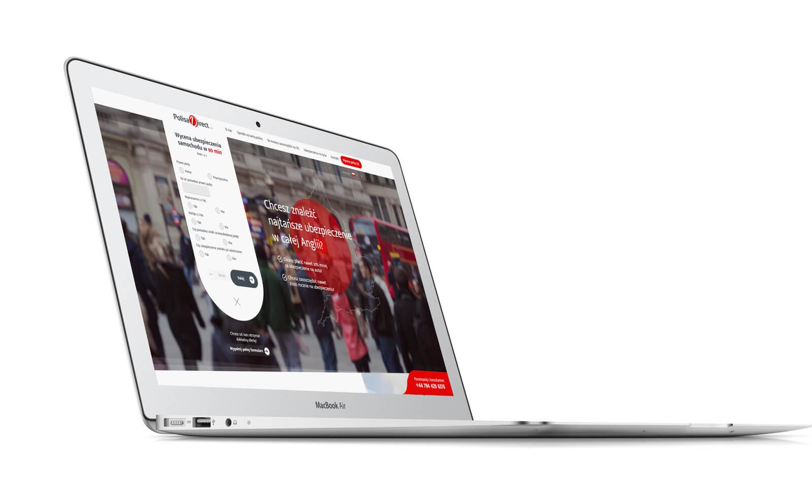 Polisa Direct - widok projektu strony na mockupie komputera