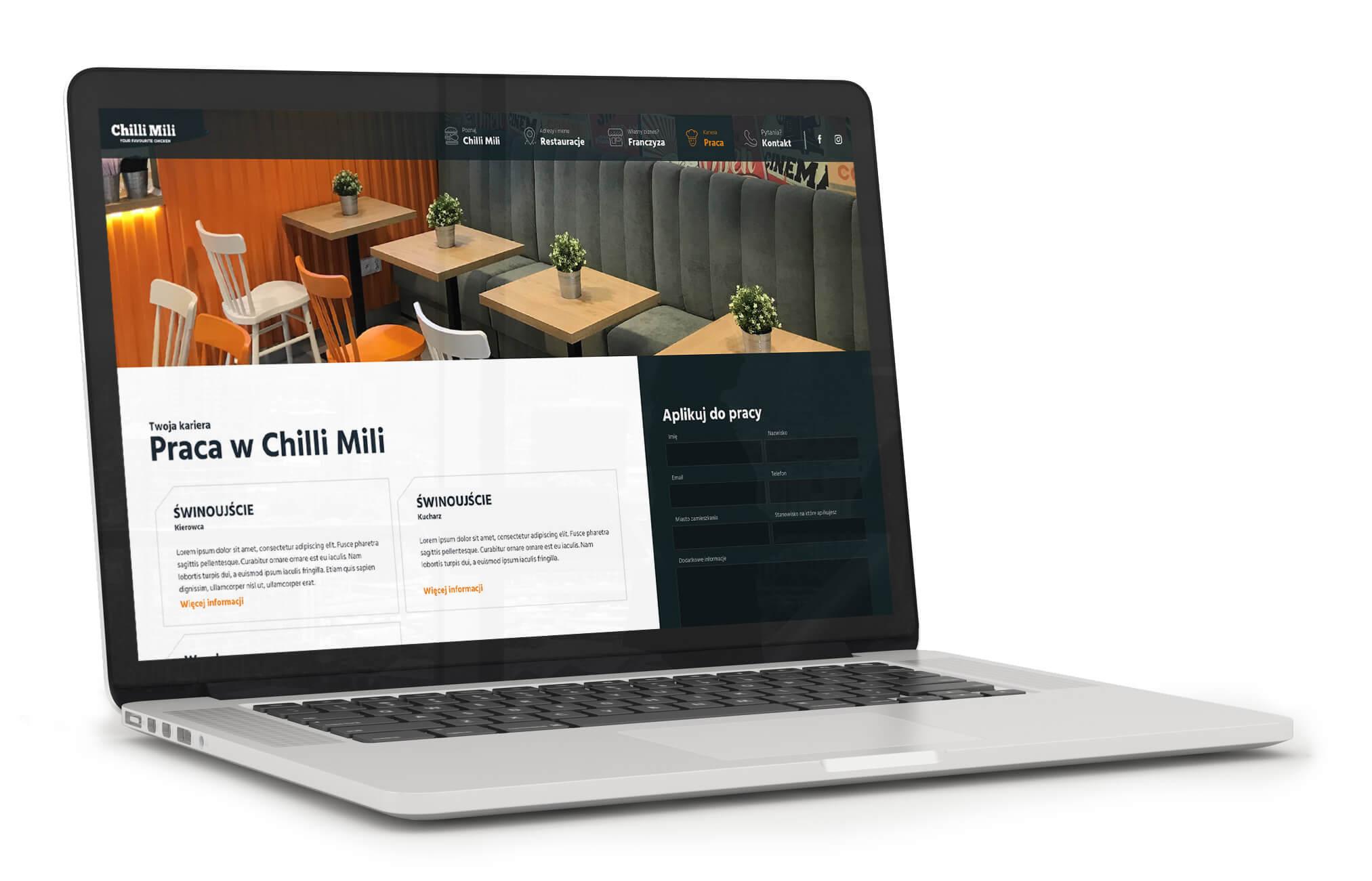 Chilli Mili - strona www dla sieci fast foodów