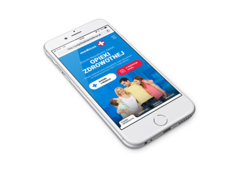 Widok mobilny nowej strony przychodni Medicus - Śląsk