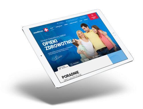 Strona internetowa przychodni Medicus Gliwice - wizualizacja projektu na tablecie