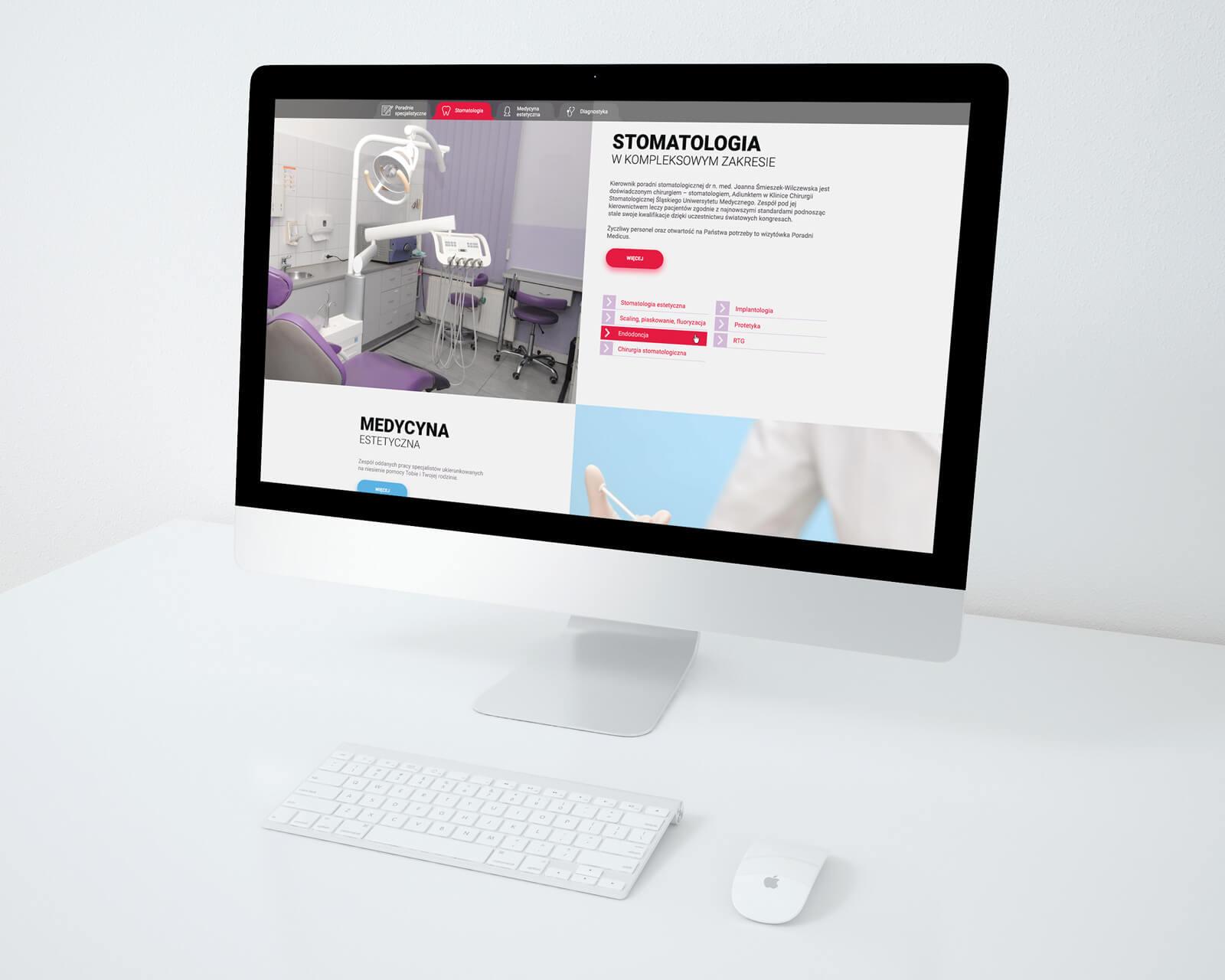 Wizualizacja projektu nowej strony przychodni medycznej medicus na Śląsku