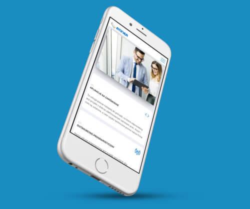 Atinea - wizualizacja widoku mobilnego nowej strony internetowej dla firmy z branży IT - rozwiązania informatyczne dla firm