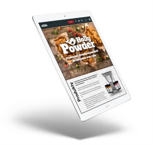 Holly Powder - projekt strony internetowej producenta posypek do kurczaka i ryby - wizualizacja na tablecie