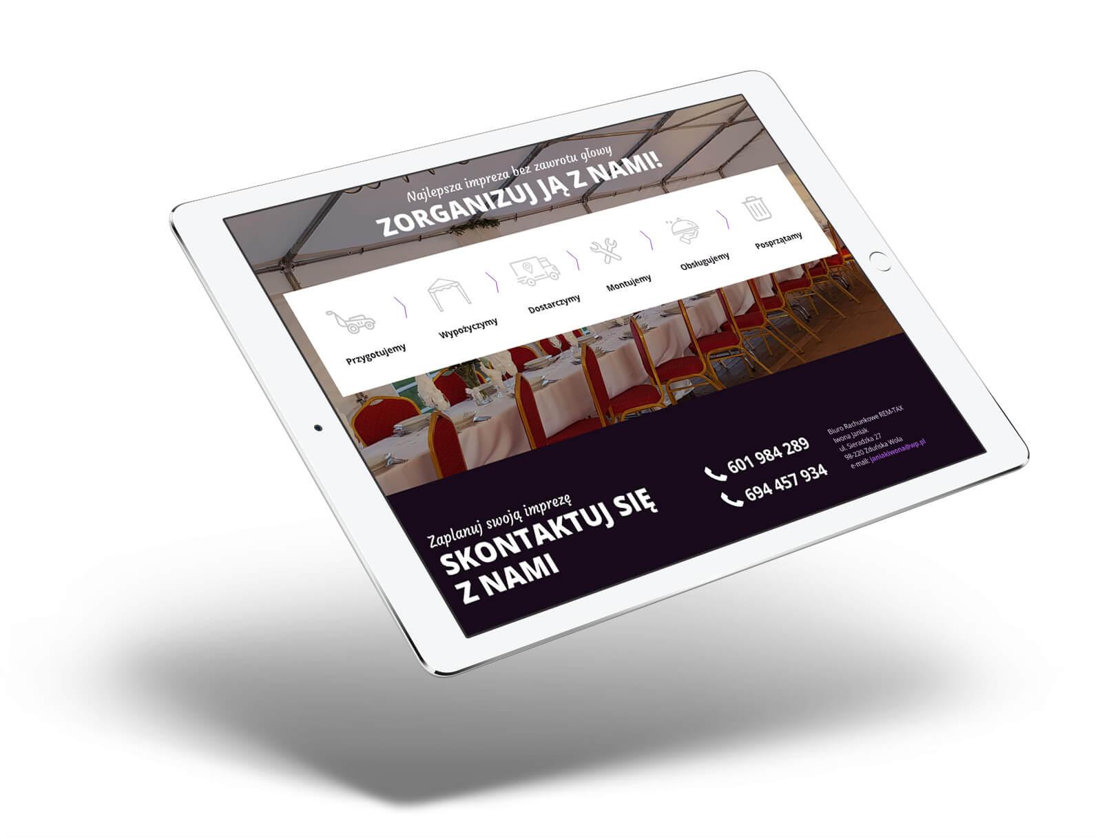 Wizualizacja strony www na tablecie