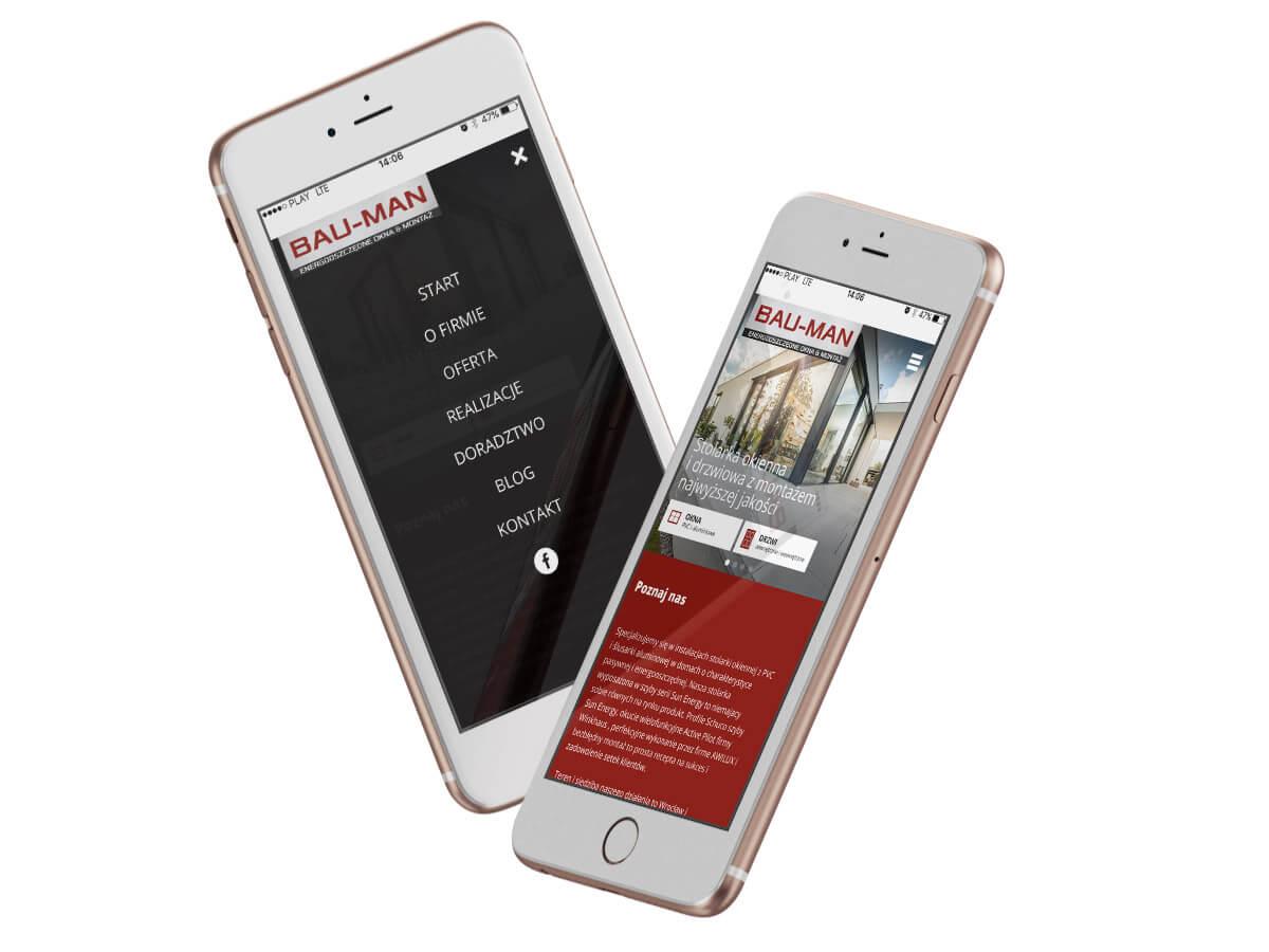 Nowa strona internetowa BAU-MAN - widok na telefonie komórkowym