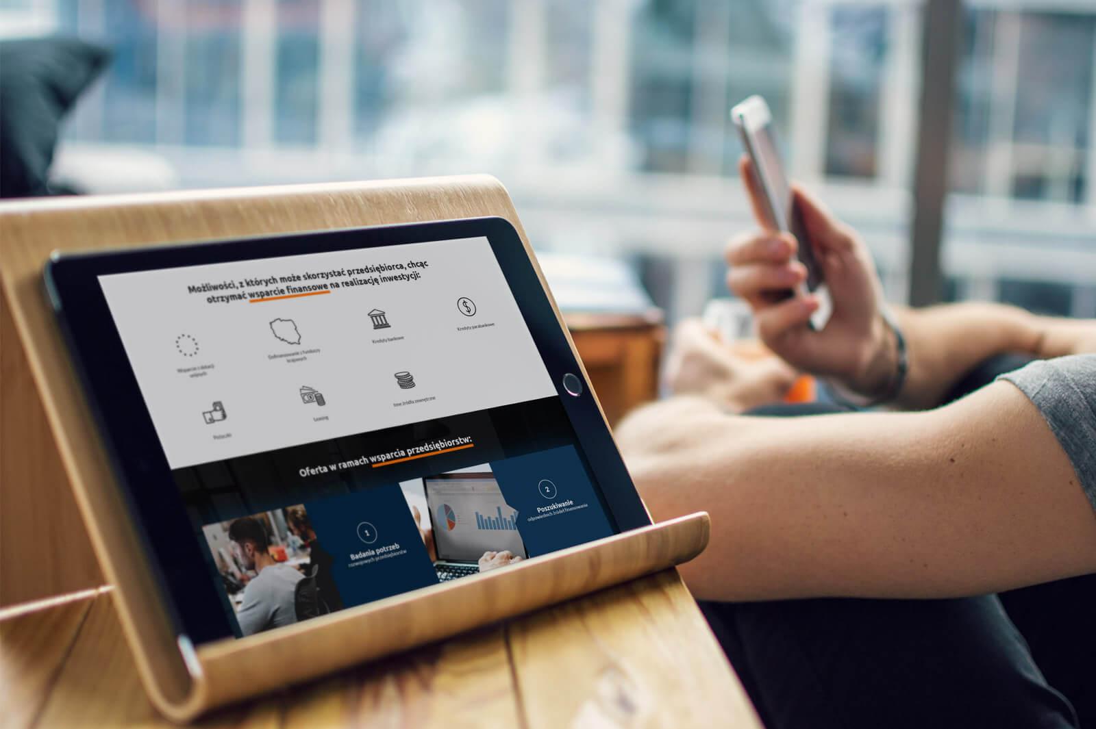Wizualizacja strony Energia dla Biznesu na tablecie - responsywne projekty stron RWD