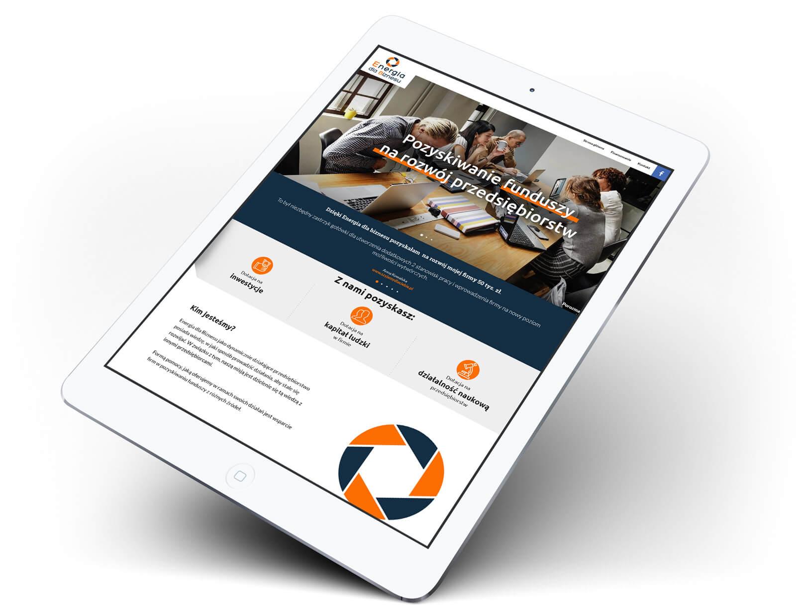 Przykład strony w RWD - Energia dla biznesu na tablecie