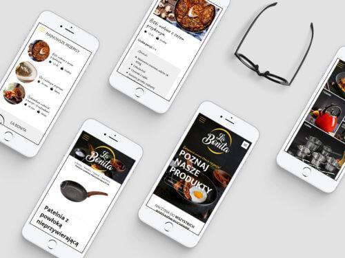 La Bonita - wizualizacja strony internetowej w wydaniu RWD na telefonach