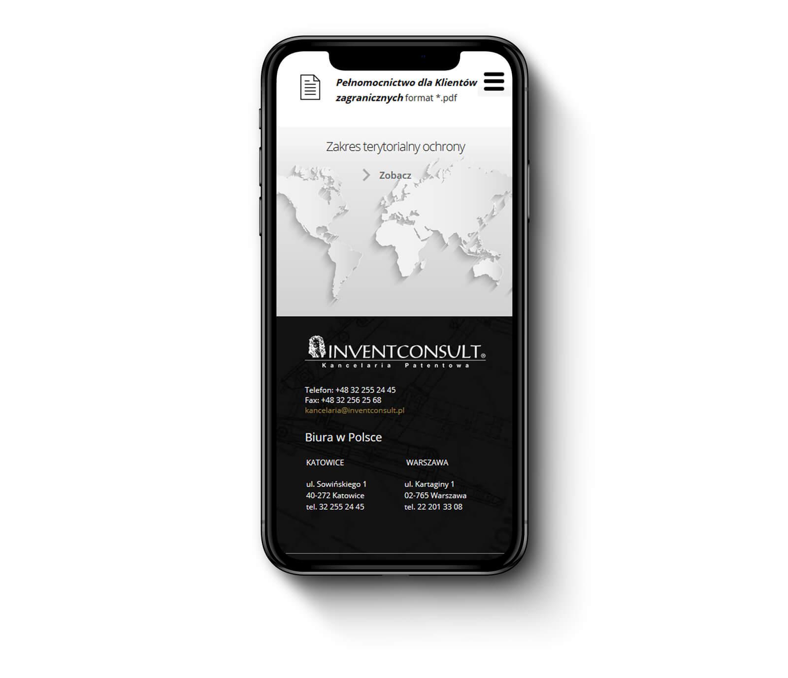 Invent Consult - strona internetowa zaprojektowana pod telefony, tablety i komputery