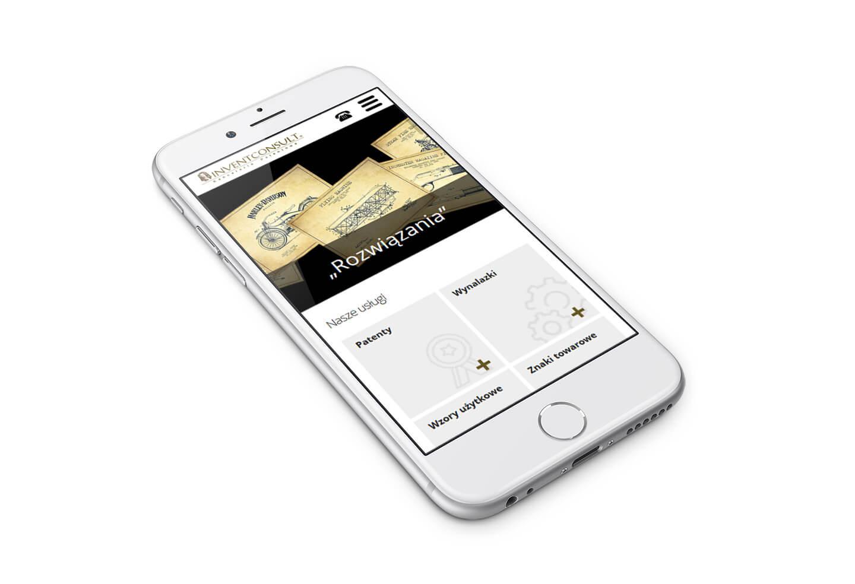 Invent Consult - ochrona patentowa, wizualizacja strony na telefonie