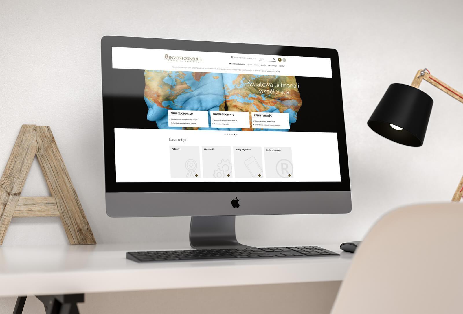 Invent Consult - projekt i realizacja nowej strony internetowej w technologii RWD, WordPress, HTML 5, CSS 3 dla kancelarii patentowej