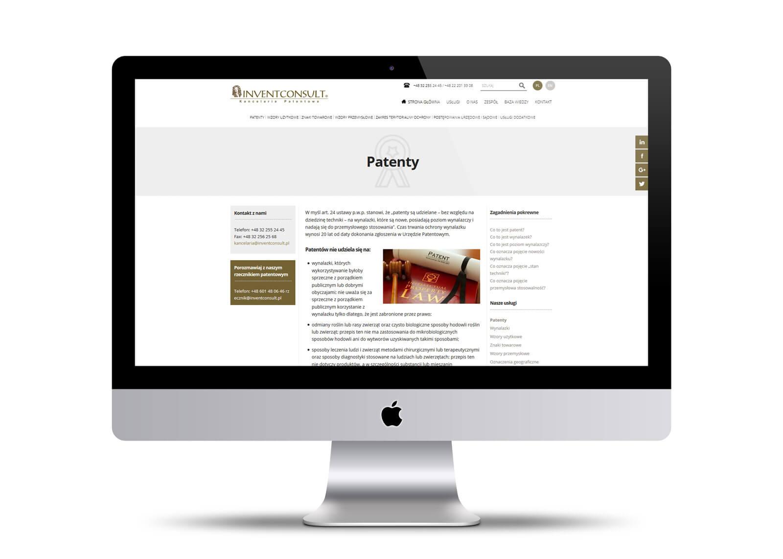 Invent Consult - projektowanie strony internetowej dla kancelarii patentowej