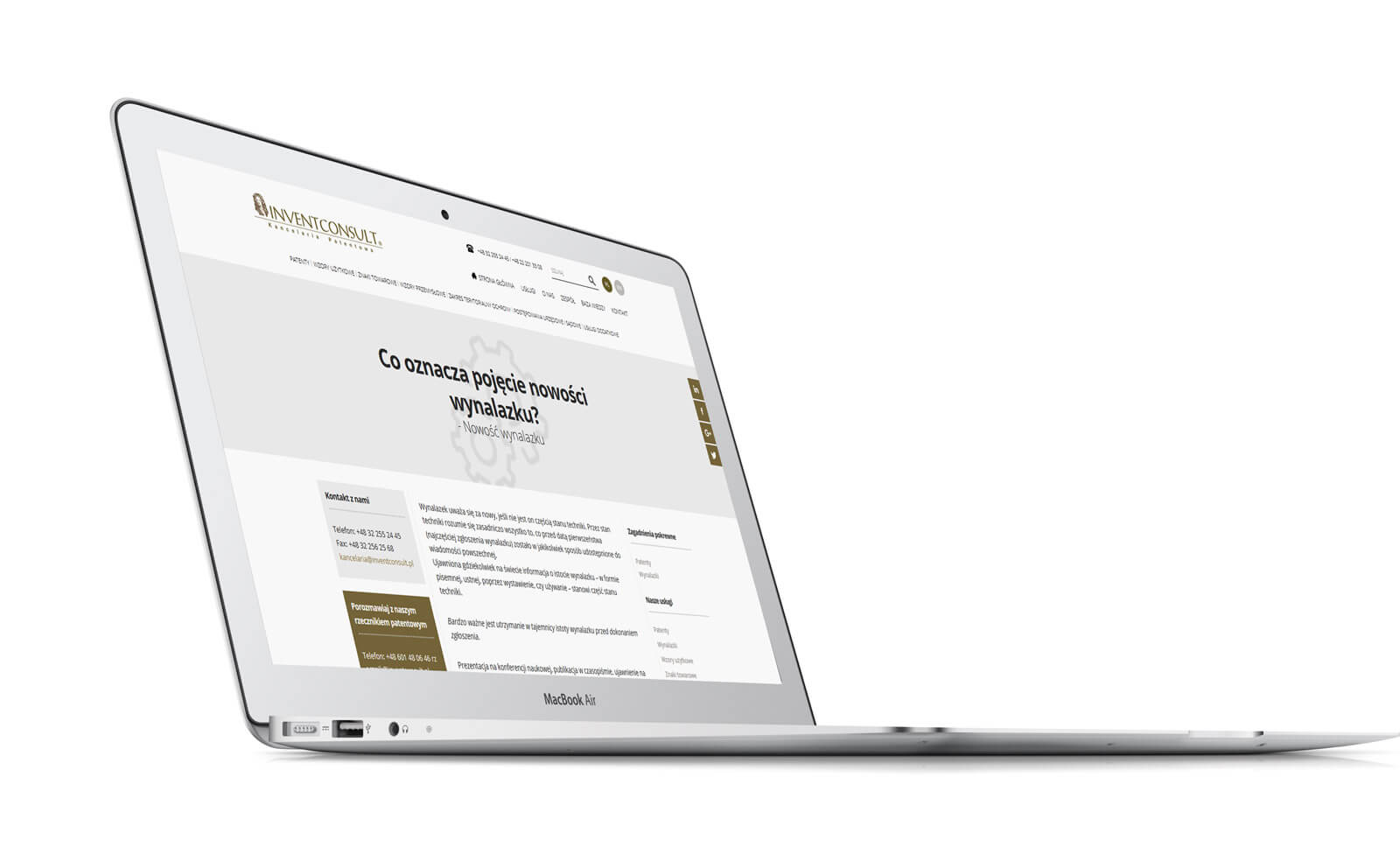 Invent Consult - wizualizacja projektu strony www