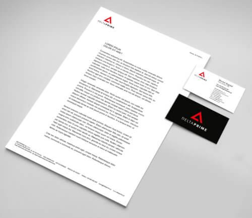 DELTAPRIME papier firmowy - identyfikacja wizualna