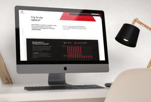 DELTAPRIME - widok strony www z animacjami, elementami interaktywnymi, animowanym SVG