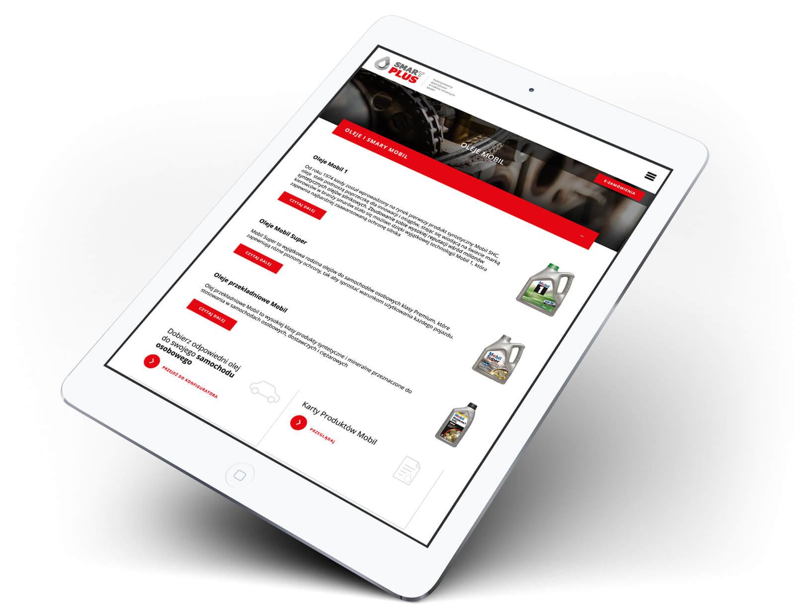SmarTPLUS - strona www na tablecie