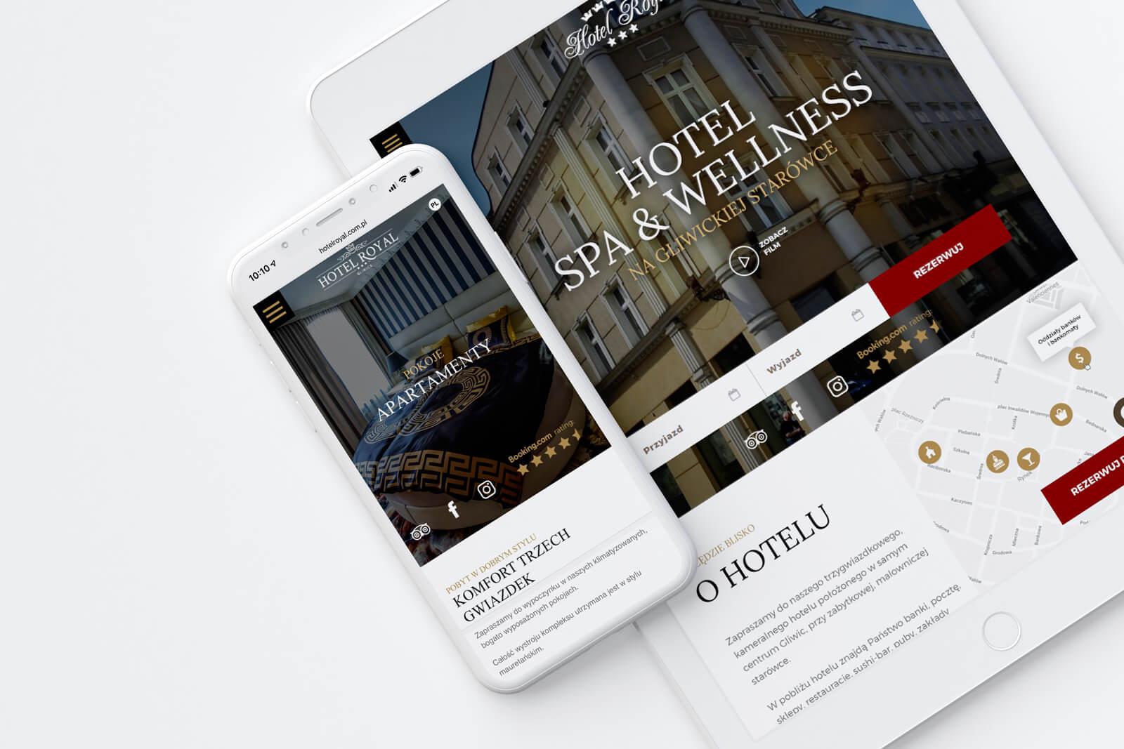 Projekt nowej strony internetowej dla gliwickiego Hotelu Royal. Lokalizacja: Gliwice, Śląsk