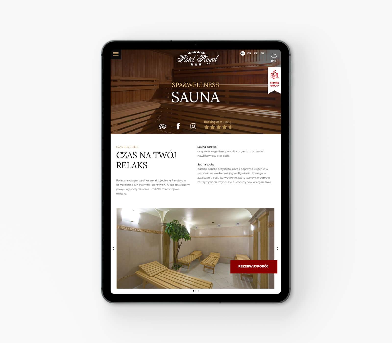 Widok responsywnego układu nowej strony internetowej Hotel Royal Gliwice, Śląsk.