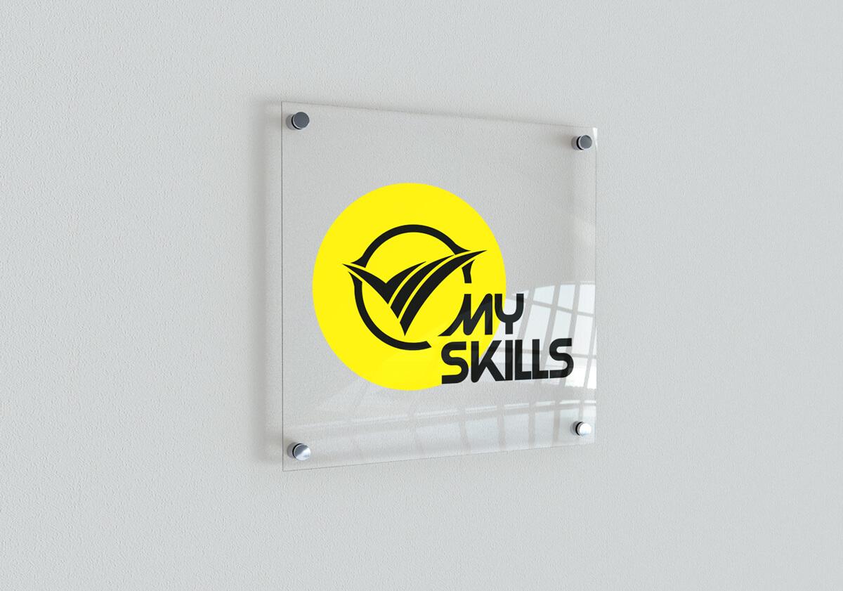 Projekt nowego logo MySkills - wizualizacja na tabliczce przydrzwiowej - mockup tabliczka przydrzwiowa. Lokalizacja; Kutno, Łódzkie.