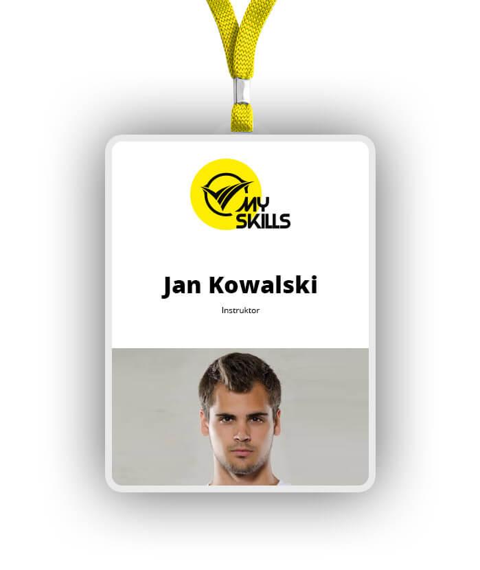 Element opracowanej identyfikacji wizualnej dla firmy MySkills. Lokalizacja; Kutno, Łódzkie.