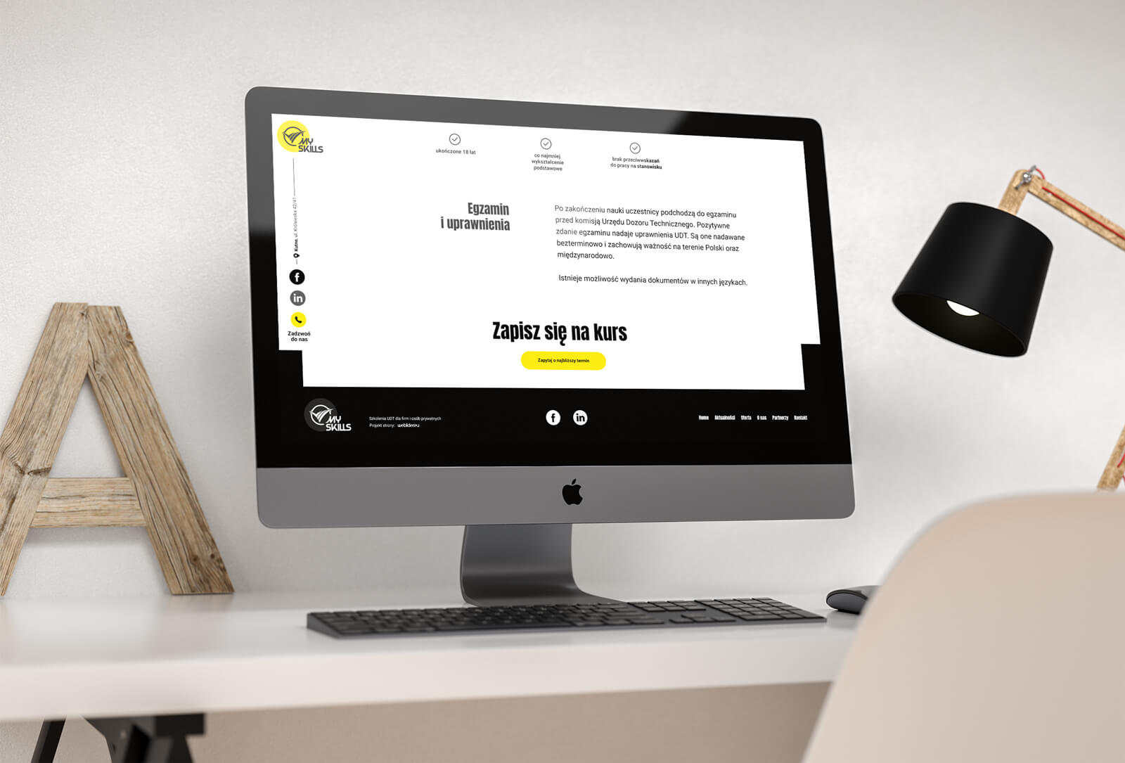 MySkills - projekt strony internetowej dla firmy zajmującej się szkoleniami UDT. Lokalizacja; Kutno, Łódzkie.