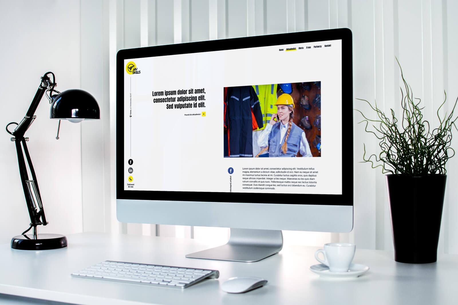 Wizualizacja projektu strony internetowej MySkills na mockupie. Lokalizacja; Kutno, Łódzkie.