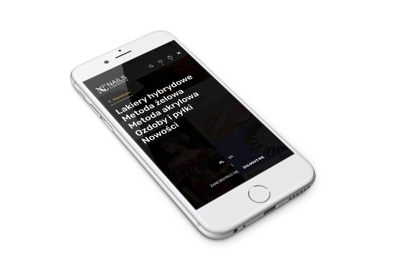 Widok mobilnej wersji menu na stronie Nails Company z Zabrza na Śląsku.